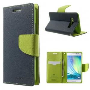Samsung Galaxy A3 - etui na telefon i dokumenty - Fancy niebieskie (KR)