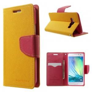 Samsung Galaxy A3 - etui na telefon i dokumenty - Fancy żółte