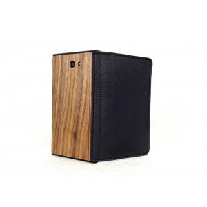 Jolla - etui na telefon i dokumenty - Lastu skóra i drewno czarne / orzech