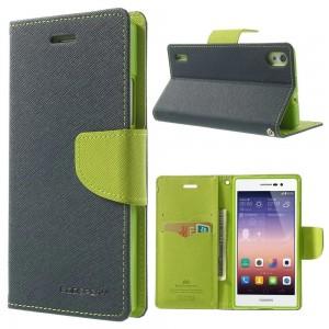 Huawei Ascend P7 - etui na telefon i dokumenty - Fancy niebieskie