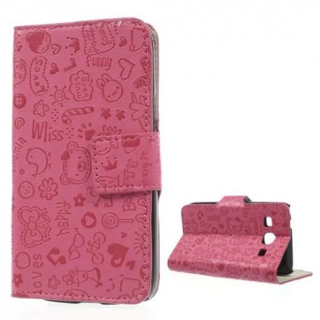 Samsung Galaxy Core Plus - etui na telefon i dokumenty - Cartoon różowe