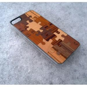 Apple iPhone 5 / 5S - etui na telefon i dokumenty - Drewno Puzzle