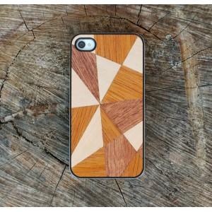 Apple iPhone 4 / 4S - etui na telefon i dokumenty - Drewno Mozaika