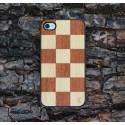 Apple iPhone 4 / 4S Etui Drewno Szachownica