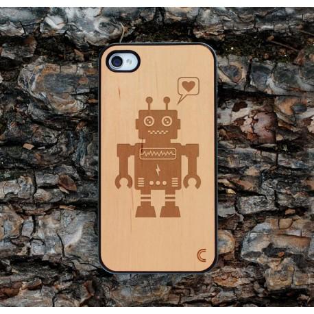 Apple iPhone 4 / 4S Etui Drewno Robot