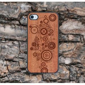 Apple iPhone 4 / 4S Etui Drewno Koła Zębate