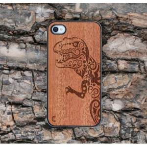 Apple iPhone 4 / 4S Etui Drewno Dinozaur