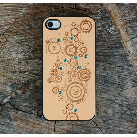 Apple iPhone 4 / 4S Etui Drewno Diamenty - Koła Zębate