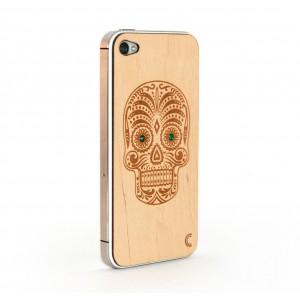 Apple iPhone 4 / 4S Skin Drewno Diamenty - Czaszka