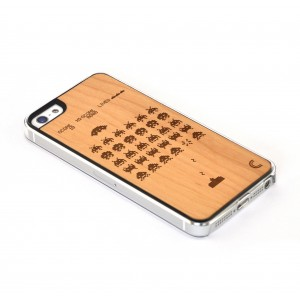 Apple iPhone 5 / 5S Etui Drewno - Space Invaders