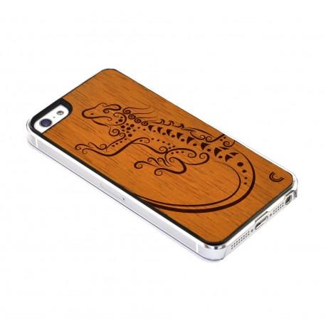 Apple iPhone 5 / 5S Etui Drewno - Jaszczurka