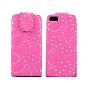 Apple iPhone 5 / 5S Etui - Diamenty Różowe