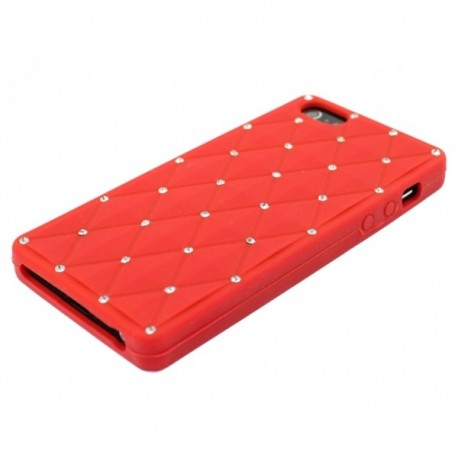 Apple iPhone 5 / 5S Etui Silikonowe Diamenty - Czerwone
