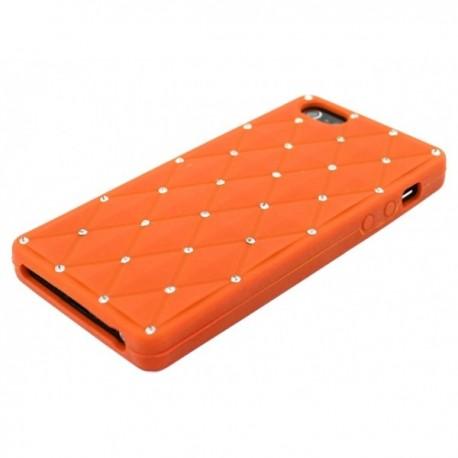 Apple iPhone 5 / 5S Etui Silikonowe Diamenty - Pomarańczowe