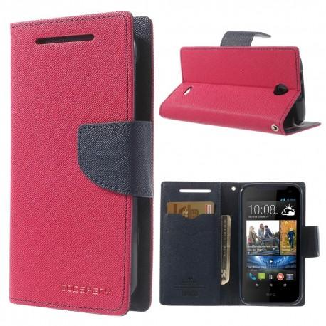 HTC Desire 310 - etui na telefon i dokumenty - Fancy różowe