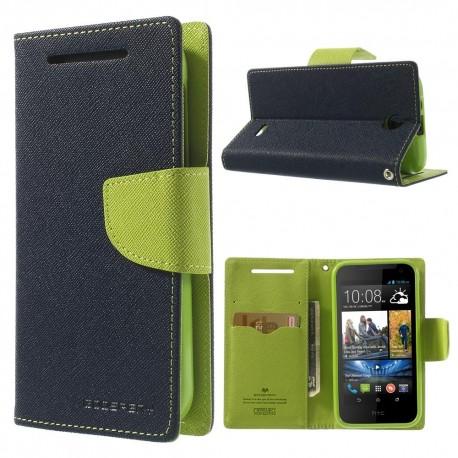 HTC Desire 310 - etui na telefon i dokumenty - Fancy niebieskie