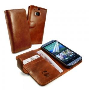 HTC One M8 - etui skórzane na telefon i dokumenty - Tuff-Luv brązowe