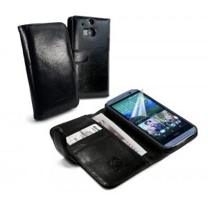 HTC One M8 - etui skórzane na telefon i dokumenty - Tuff-Luv czarne