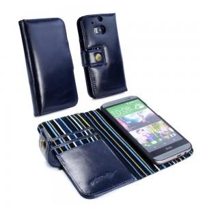 HTC One M8 - etui skórzane na telefon i dokumenty - Alston Craig Royal niebieskie