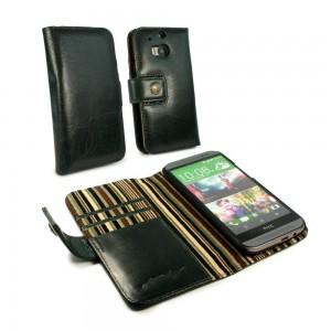 HTC One M8 - etui skórzane na telefon i dokumenty - Alston CraigRacing zielony