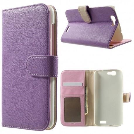 Huawei Ascend G7 - etui na telefon i dokumenty - Litchi purpurowe