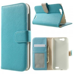 Huawei Ascend G7 - etui na telefon i dokumenty - Litchi niebieskie