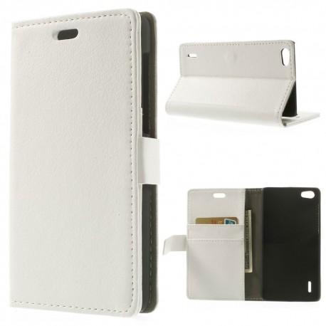 Huawei Honor 6 - etui na telefon i dokumenty - Litchi białe