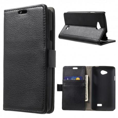 LG F60 - etui na telefon i dokumenty - Litchi czarne