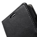 LG F60 Portfel Etui – PU Skóra Litchi Czarne