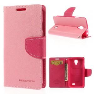 LG F70 - etui na telefon i dokumenty - Fancy Goospery różowe