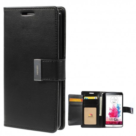LG G3 - etui na telefon i dokumenty - Rich Diary czarne