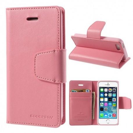Apple iPhone 5 / 5S - etui na telefon i dokumenty - Sonata różowe