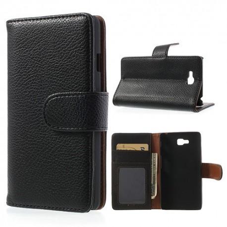 LG Optimus L9 II - etui na telefon i dokumenty - Litchi czarne