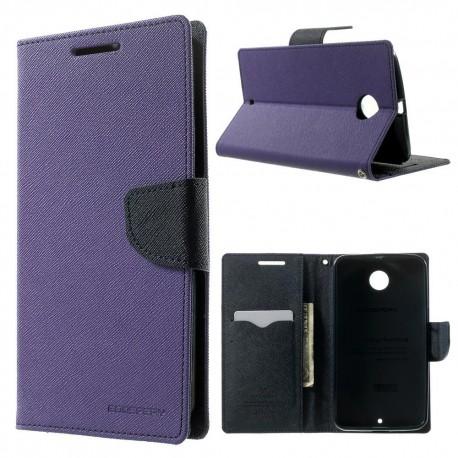 Motorola Nexus 6 - etui na telefon i dokumenty - Fancy purpurowe