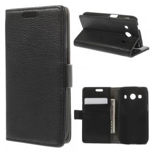 Samsung Galaxy Ace 4 - etui na telefon i dokumenty - Litchi czarne