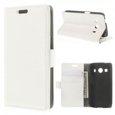Samsung Galaxy Ace 4 - etui na telefon i dokumenty - Litchi białe