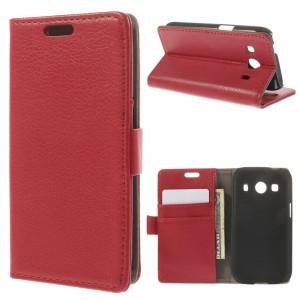 Samsung Galaxy Ace 4 - etui na telefon i dokumenty - Litchi czerwone