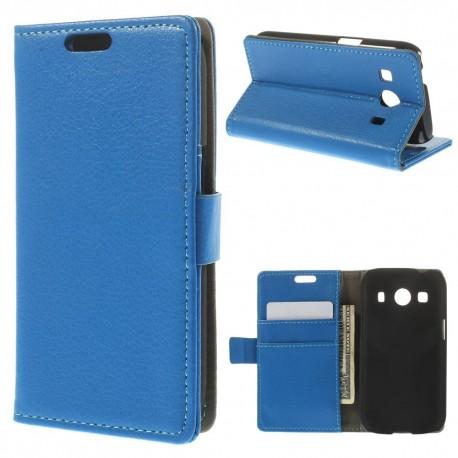 Samsung Galaxy Ace 4 - etui na telefon i dokumenty - Litchi niebieskie