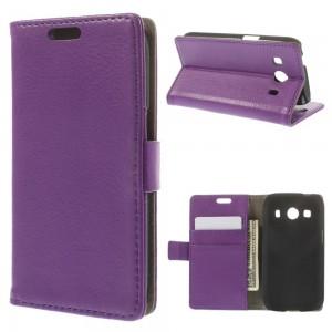 Samsung Galaxy Ace 4 - etui na telefon i dokumenty - Litchi purpurowe