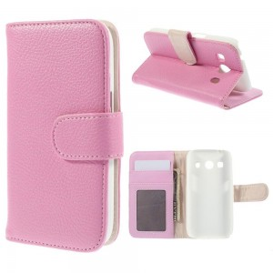 Samsung Galaxy Ace 4 - etui na telefon i dokumenty - różowe