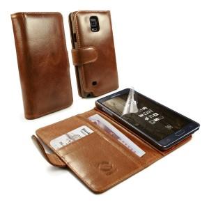 Samsung Galaxy Note 4 - etui skórzane na telefon i dokumenty - Tuff-Luv brązowe