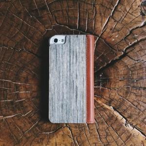 Apple iPhone 5 / 5S - etui na telefon i dokumenty - Lastu brązowe / orzech