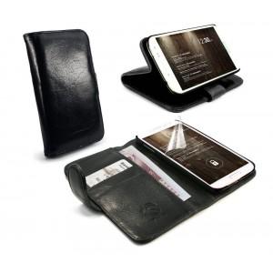 Samsung Galaxy S5 - etui skórzane na telefon i dokumenty - Tuff-Luv czarne