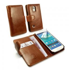Samsung Galaxy S5 Mini - etui skórzane na telefon i dokumenty - Tuff-Luv brązowe