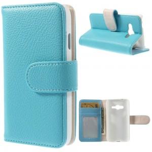 Samsung Galaxy Trend 2 - etui na telefon i dokumenty - Litchi niebieskie