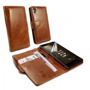 Sony Xperia Z3 - etui skórzane na telefon i dokumenty - Tuff-Luv brązowe