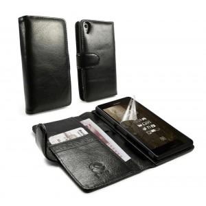 Sony Xperia Z3 - etui skórzane na telefon i dokumenty - Tuff-Luv czarne