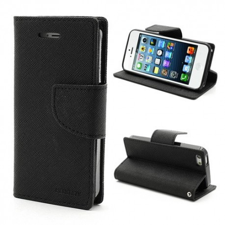 Apple iPhone 5 / 5S - etui na telefon i dokumenty - Fancy czarne
