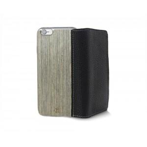 Apple iPhone 6 Plus - etui na telefon i dokumenty - Lastu Kelo czarna skóra / drewno