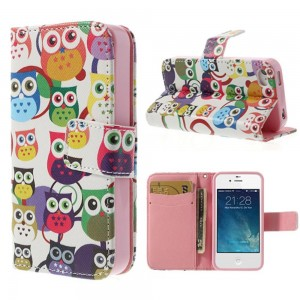 Apple iPhone 4 / 4S - etui na telefon i dokumenty - Sowy 1